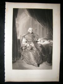 After Thomas Lawrence 1840 Folio Mezzotint Portrait. Cardinal Consalvi
